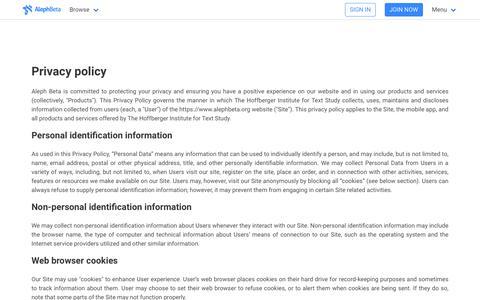 Screenshot of Privacy Page alephbeta.org - Privacy Policy | Aleph Beta - captured Sept. 23, 2018