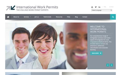 Screenshot of Home Page internationalworkpermits.com - Home - captured Sept. 30, 2014