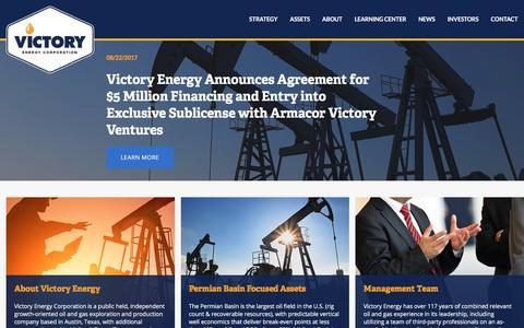 Screenshot of Home Page vyey.com - Victory Energy Corporation (VYEY) - captured Oct. 26, 2017