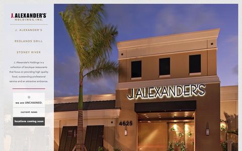 Screenshot of Home Page jalexandersholdings.com - | J. Alexander's Holdings - captured Feb. 16, 2016