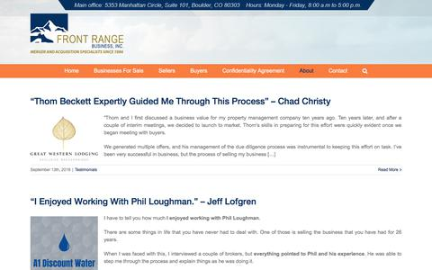 Screenshot of Testimonials Page frontrangebusiness.com - Testimonials | Front Range Business, Inc. - captured Sept. 24, 2018