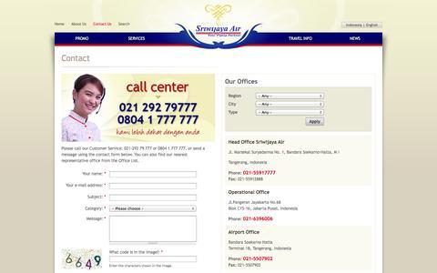 Screenshot of Contact Page sriwijayaair.co.id - Contact | Sriwijaya Air - captured Sept. 18, 2014