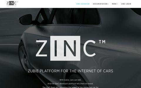 Screenshot of Developers Page zubie.com - ZINC - captured July 15, 2015