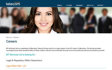 Screenshot of Jobs Page telecom.mu - Careers - Mauritius Telecom - captured Nov. 23, 2016