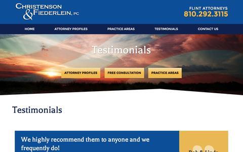 Screenshot of Testimonials Page cflegal.net - Testimonials | Christenson & Fiederlein, PC - captured Nov. 5, 2016