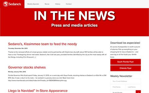 Screenshot of Press Page sedanos.com - Press - Sedano's Supermarkets - captured Oct. 21, 2016