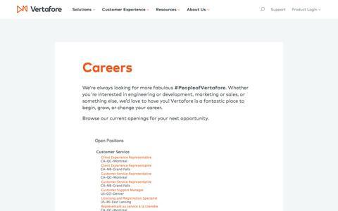 Screenshot of Jobs Page vertafore.com - Careers | Vertafore - captured Sept. 9, 2018