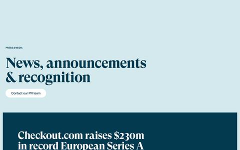 Screenshot of Press Page checkout.com - Payments Newsroom | Checkout.com - captured July 10, 2019