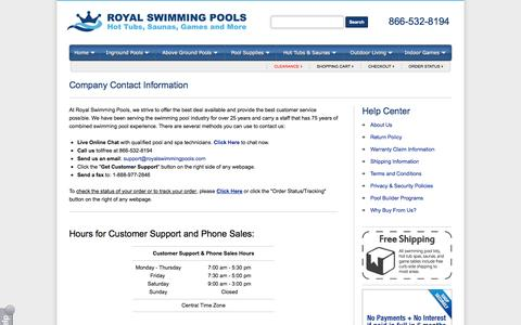 Screenshot of Contact Page Hours Page royalswimmingpools.com - Company Contact Information - captured Oct. 26, 2014