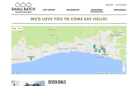 Screenshot of Locations Page smallbatchcoffee.co.uk - We'd love you to come say hello! - captured Nov. 19, 2016