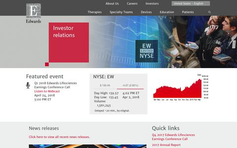 Edwards Lifesciences Corporation - Investor relations