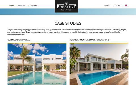 Screenshot of Case Studies Page prestige-estates.com - Case Studies - captured Jan. 2, 2017