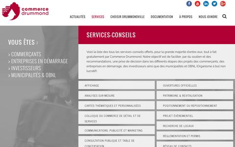 Screenshot of Services Page commerce-drummond.com - Commerce Drummond | Services-conseils - captured July 15, 2016