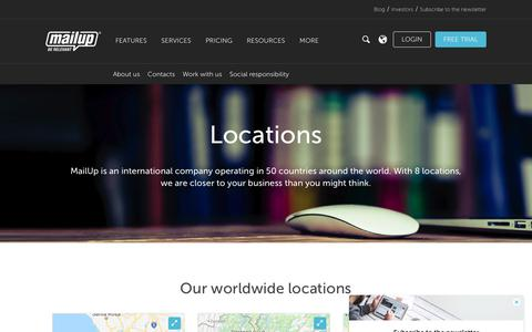 Screenshot of Locations Page mailup.com - Locations - Email Marketing Software | MailUp - captured Nov. 6, 2018