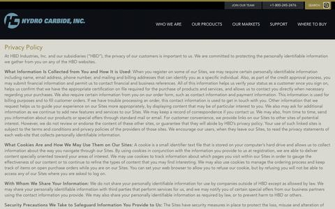 Screenshot of Privacy Page hydrocarbide.com - Privacy Policy - Hydro Carbide Inc. - captured July 19, 2016