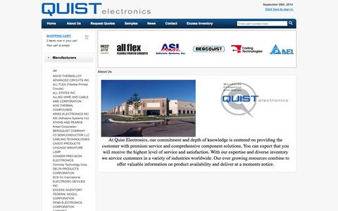 Screenshot of About Page quistelectronics.com - About Us - Quist Electronics - captured Sept. 30, 2014