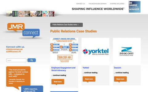 Screenshot of Case Studies Page jmrconnect.net - Public Relations Case Studies. Success with Influencer Communicatiions - captured Nov. 13, 2019