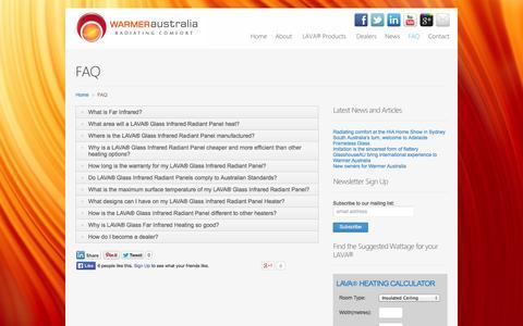 Screenshot of FAQ Page warmeraustralia.com.au - LAVA® Glass Infrared Radiators   FAQ   Warmer Australia - captured Sept. 30, 2014