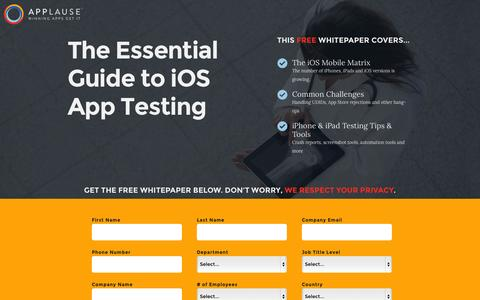 Screenshot of Landing Page applause.com - iOS App Testing Guide - Applause: 360° App Quality - captured Oct. 27, 2014