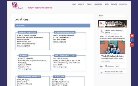 Screenshot of Locations Page swasti.org - Locations - captured Feb. 22, 2016
