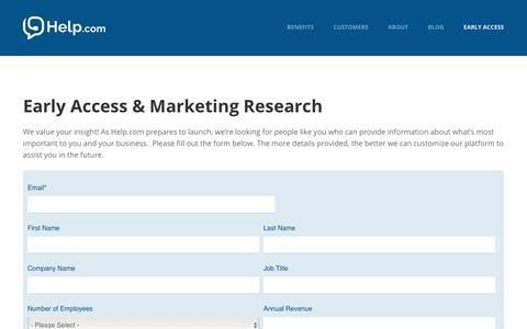 Screenshot of Signup Page help.com - start - captured Nov. 19, 2017