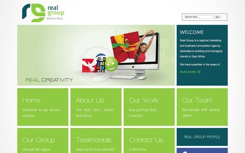 Screenshot of Home Page real-group.biz - Real Group - Home Real Group, Advertising strategy & concept development & implementation, Branding, design and production, Media & Public Relations, Events Management, Creative design, Experiential Marketing - captured Oct. 7, 2014