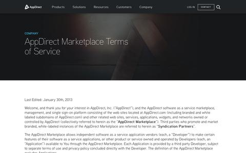 Screenshot of Terms Page appdirect.com - Marketplace Terms of Service - AppDirect - captured May 2, 2017