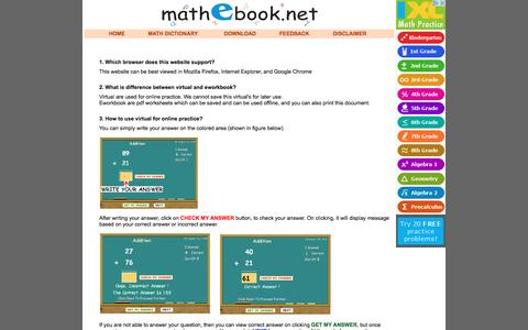Screenshot of FAQ Page mathebook.net - Mathebook.net - Online Resources for Math - Frequently Asked Question - captured June 15, 2016