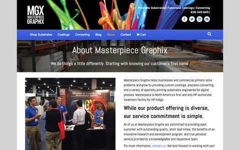 Screenshot of About Page mgxdigital.com - About Us - Masterpiece Graphix - captured Oct. 17, 2018