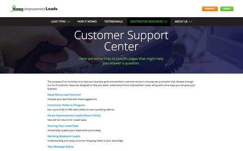 Screenshot of Support Page homeimprovementleads.com - Home Improvement Leads | Turning Leads Into Customers - captured July 24, 2015
