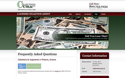 Screenshot of FAQ Page collectionsusa.net - Debt Recovery, Collections Agency - Phoenix, AZ | Collections U.S.A. Inc. - captured Sept. 30, 2014