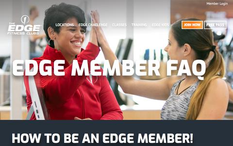 Screenshot of FAQ Page theedgefitnessclubs.com - Contact Edge Head Office: Corporate Numbers & Customer Service - captured Sept. 6, 2019