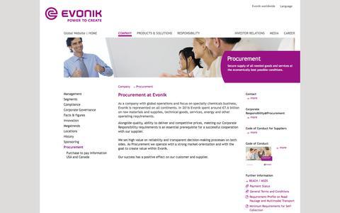 Procurement - Evonik Industries - Specialty Chemicals