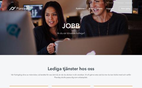 Screenshot of Jobs Page planday.com - Jobbmöjligheter på Planday - captured Nov. 2, 2018
