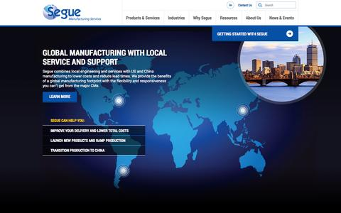 Screenshot of Home Page segue-mfg.com - Segue Manufacturing Services | Global Contract Manufacturing - captured Oct. 6, 2014