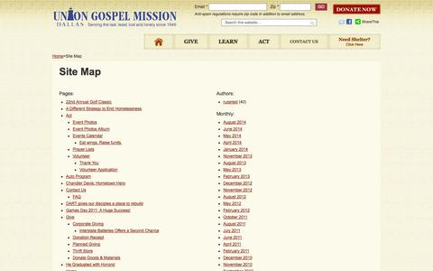 Screenshot of Site Map Page ugmdallas.org - Site Map - captured Oct. 7, 2014