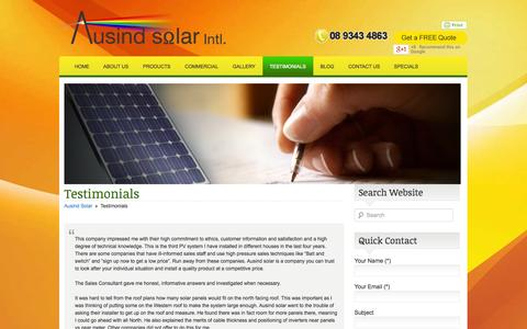 Screenshot of Testimonials Page ausindsolar.com.au - Testimonials - captured Sept. 30, 2014