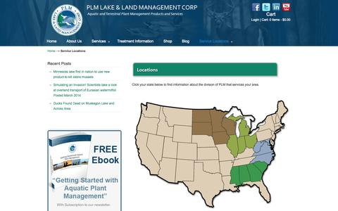 Screenshot of Locations Page plmcorp.net - Service Locations | PLM Lake and Land Management Corp - captured Oct. 1, 2014