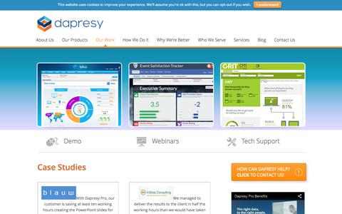 Screenshot of Case Studies Page dapresy.com - Case Studies - Market Research Tool - Dapresy - captured Oct. 5, 2014