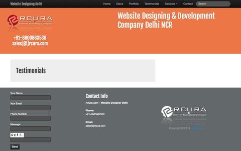 Screenshot of Testimonials Page rcura.com - Website Designing Firm Delhi India - captured Oct. 29, 2014