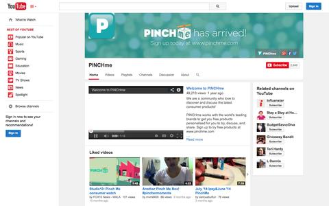 Screenshot of YouTube Page youtube.com - PINCHme  - YouTube - captured Oct. 22, 2014