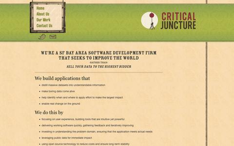 Screenshot of Home Page criticaljuncture.org - Critical Juncture :: We're a SF Bay Area software development firm that seeks to improve the world - captured Sept. 30, 2014