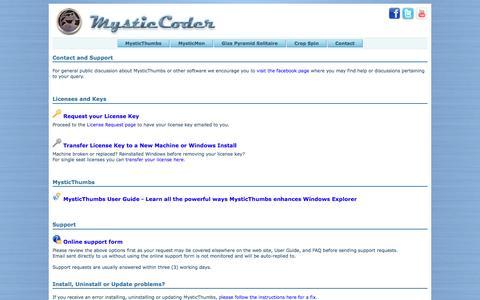Screenshot of Contact Page mysticcoder.net - MysticCoder Contact - captured Sept. 14, 2016