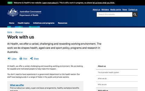 Screenshot of Jobs Page health.gov.au - Work with us | Australian Government Department of Health - captured July 19, 2019