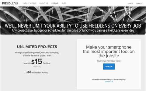 Screenshot of Pricing Page fieldlens.com - Construction Management Software Pricing | Start Using FieldLens Today - captured Sept. 16, 2014