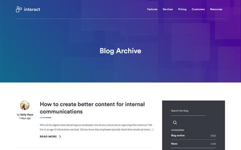 Screenshot of Blog interact-intranet.com - Blog Archives | Interact software - captured March 26, 2018