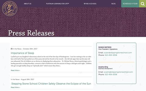 Screenshot of Press Page steppingstoneschool.com - Press Releases   Austin's Premier Early Childhood Education - Stepping Stone School - captured Nov. 6, 2017