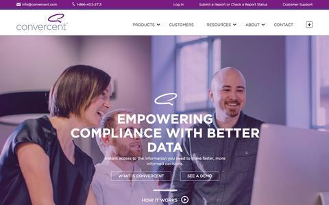 Screenshot of Home Page convercent.com - Compliance Management Platform | Convercent - captured June 16, 2015