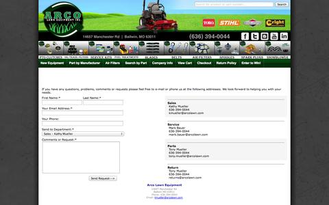 Screenshot of Contact Page arcolawn.com - Arco Lawn Equipment | Contact Us - captured Oct. 4, 2014