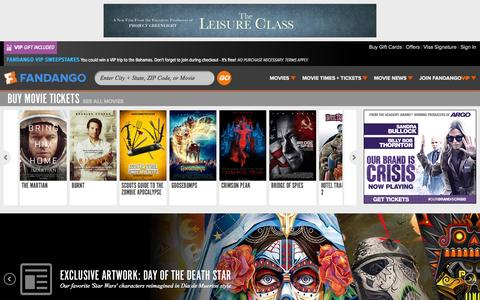 Screenshot of Home Page fandango.com - Movie Tickets - Movie Times - Fandango - captured Oct. 31, 2015